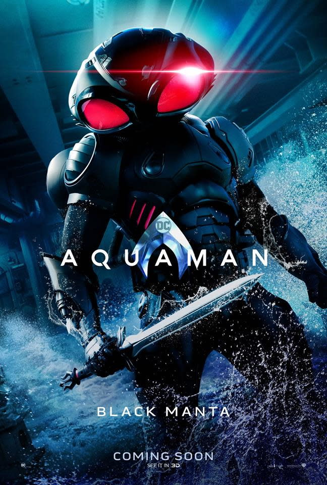 <p>「黑蝠鱝」大衛肯恩(Black Manta / David Kane)◆葉海亞阿巴杜馬汀二世(Yahya Abdul-Mateen II):大衛肯恩是一名人類傭兵,同時也是寶藏獵人,他一向都利用最致命的科技來巧取豪奪。在漫畫中,他往往是水行俠的死對頭。 </p>