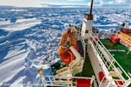 This photo, taken by Andrew Peacock of www.footloosefotography.com on December 27, 2013, shows the ship MV Akademik Shokalskiy trapped in the ice at sea off Antarctica
