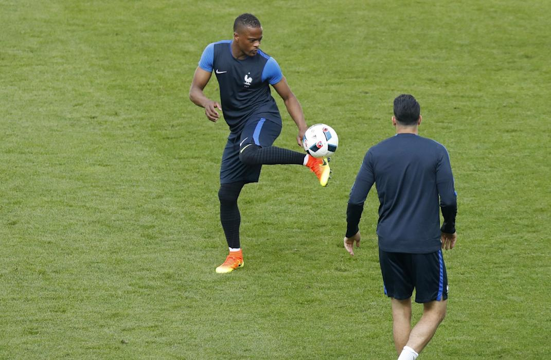 France's Patrice Evra during training