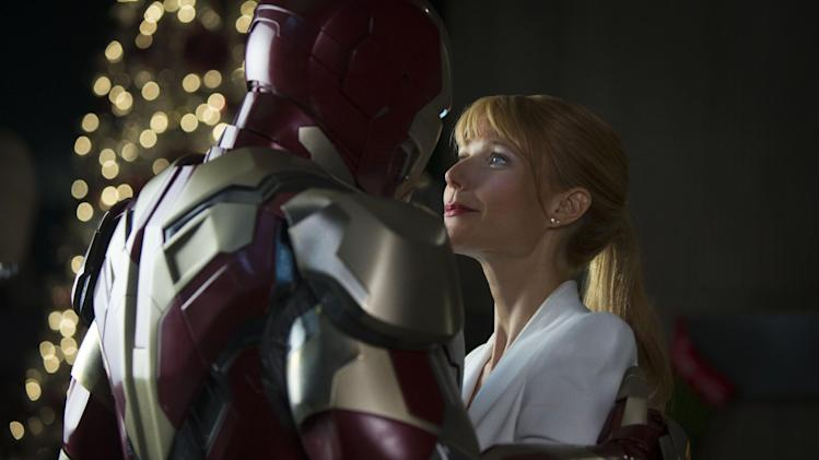 "This undated publicity photo released by Marvel shows Robert Downey Jr., left, as Tony Stark/Iron Man and Gwyneth Paltrow, as Pepper Potts, in a scene from ""Marvel's Iron Man 3."" (AP Photo/Marvel, Zade Rosenthal)"