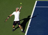 Andy Murray of Britain serves to Alex Bogomolov of Russia during their men's first round 2012 US Open match at the USTA Billie Jean King National Tennis Center in New York. Murray won a 6-2, 6-4, 6-1 victory over Bogomolov