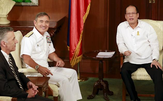 President Benigno Aquino hold a talks with visiting U.S. Navy Admiral Harry Harris, Commander of U.S. Pacific Fleet, during his visit at the presidential palace in Manila