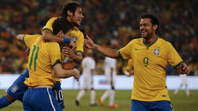World Cup - Neymar hits hat-trick as Brazil rout South Africa