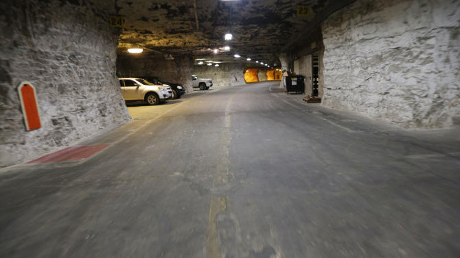 Paved roadways lead the way to the Vivos Shelter and Resort during a tour of the facility in Atchison, Kan., Tuesday, June 18, 2013. (AP Photo/Orlin Wagner)