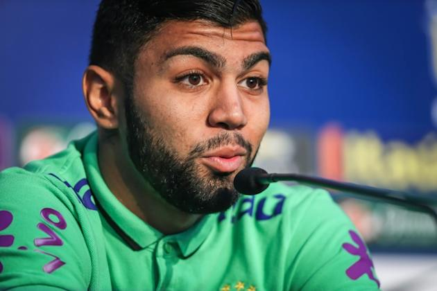 Brazil's football team player Gabriel, aka Gabigol, speaks during a press conference before a training at their hotel in Viamao, Brazil, on March 27, 2016