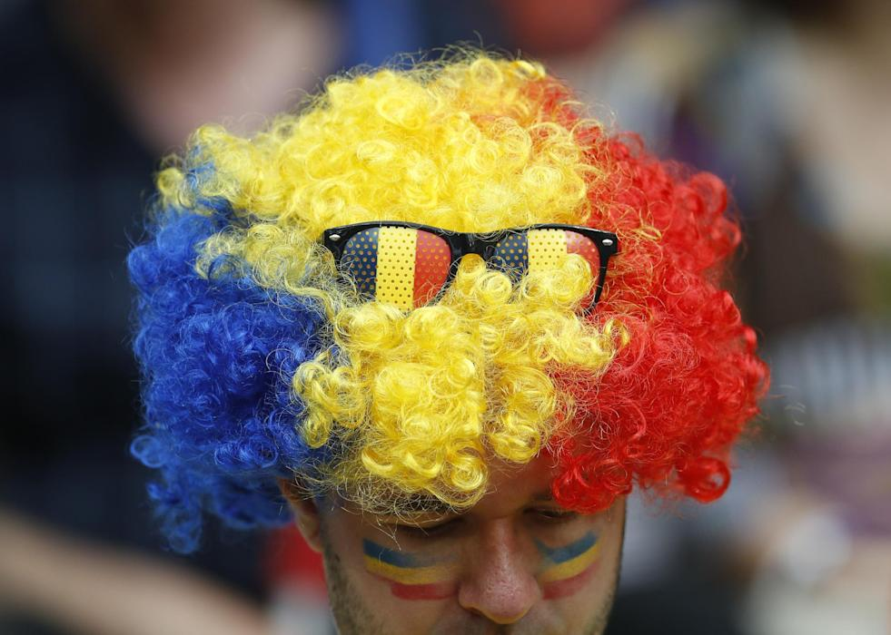 Romania fan before the match
