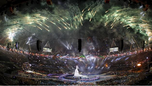 File photo go fireworks exploding over Olympic Stadium during the opening ceremony of London 2012 Paralympic Games