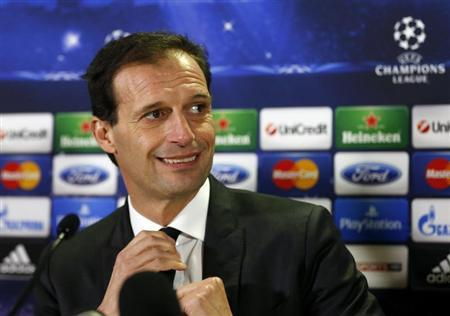 AC Milan's manager Massimiliano Allegri attends a news conference in Glasgow