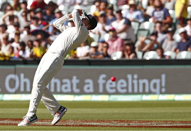 New Zealand's Santner drops a catch from Australia's Smith during the third day of the third cricket test match at the Adelaide Oval, in South Australia