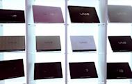 Sony 'Vaio' laptop computers are displayed during their press preview in Tokyo on July 16, 2008