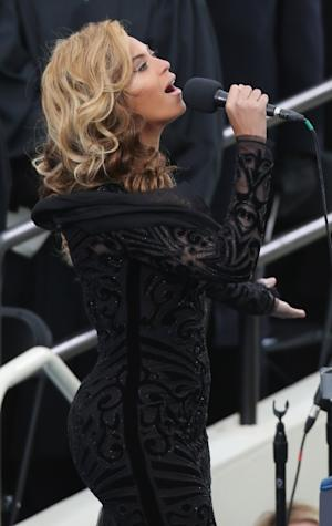 Beyonce performs the National Anthem during the public ceremonial inauguration for U.S. President Barack Obama on the West Front of the U.S. Capitol, Washington, D.C., January 21, 2013 -- Getty Images