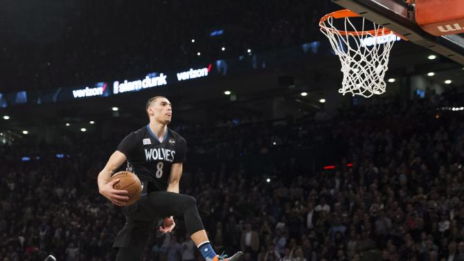 Minnesota Timberwolves' Zach LaVine slam dunks the ball during the NBA all-star skills competition in Toronto on Saturday, Feb. 13, 2016. (Mark Blinch/The Canadian Press via AP) MANDATORY CREDIT