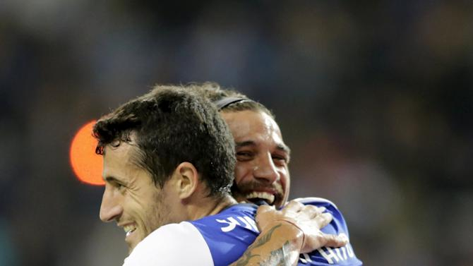 Porto's Marcano celebrates his goal against Belenenses with his teammate Osvaldo during their Portuguese Premier League soccer match at Dragao stadium in Porto