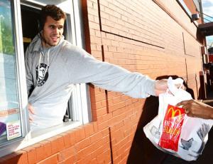 Kris Humphries Works McDonald's Drive-Thru Window in Brooklyn: Picture