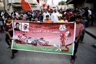 Bahraini Shiite Muslims protest the killing of protester Salah Abbas Habib, 36, in Bilad al-Qadeema, a suburb of the capital Manama. Bahrain's controversial Grand Prix race went off without incident on Sunday after a week of angry protests away from the F1 desert circuit that put the non-sporting focus on reform demands in the Gulf state