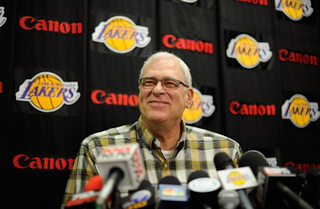 EL SEGUNDO, CA - MAY 11: Former coach of the Los Angeles Lakers Phil Jackson during a news conference at the Lakers training facility on May 11, 2011 in El Segundo, California. The Lakers were swept out of their best of seven series with the Dallas Mavericks four games to none. NOTE TO USER: User expressly acknowledges and agrees that, by downloading and or using this photograph, User is consenting to the terms and conditions of the Getty Images License Agreement. (Photo by Kevork Djansezian/Getty Images)