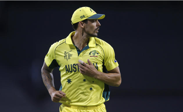 Australia's Mitchell Johnson runs during their Cricket World Cup Pool A match against Afghanistan in Perth, Australia, Wednesday, March 4, 2015. (AP Photo Theron Kirkman)