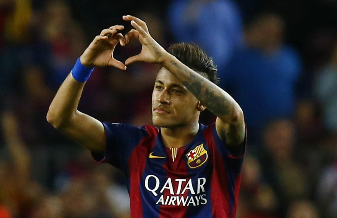 Football: Barcelona's Neymar celebrates scoring their third goal