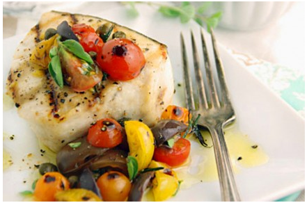 Grilled Swordfish with Heirloom Tomatoes