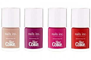 Diet Coke and Nails Inc. City Collection nail polish.