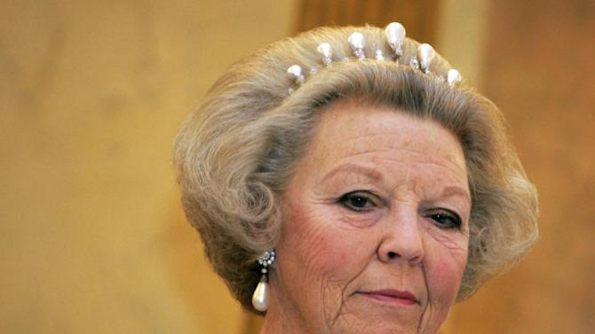 FILE - In a re-crop of this Monday Oct. 30, 2006 file photo, Dutch Queen Beatrix is seen during a state banquet in at Royal Palace Noordeinde in The Hague, Netherlands. The Dutch Queen announced her abdication in a prerecorded speech in The Hague, Netherlands, Monday Jan. 28, 2013. Beatrix, who turns 75 on Thursday, has ruled the nation of 16 million for more than 32 years and would be succeeded by her eldest son, Crown Prince Willem-Alexander. (AP Photo/Peter Dejong, File)