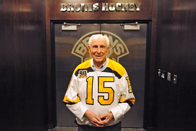 BOSTON, MA - OCTOBER 14: Alumni legend Milt Schmidt of the Boston Bruins poses in front of in front of the locker room prior to the game against the Detroit Red Wings at the TD Garden on October 14, 2013 in Boston, Massachusetts. (Photo by Steve Babineau/NHLI via Getty Images)