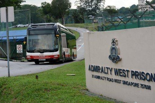 A SMRT bus leaves the Admiralty West prison after taking Chinese bus drivers there.