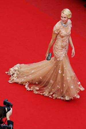 FILE - In this May 18, 2012 file photo, actress Naomi Watts wears a dress by Marchesa as she arrives for the screening of Madagascar 3: Europe's Most Wanted, at the 65th international film festival, in Cannes, southern France. (AP Photo/Loic Venance, file)