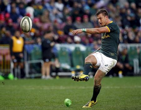 South Africa's Handre Pollard converts during their rugby union match against the World XV  in Cape Town