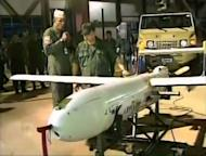 A TV grab shows the unarmed Venezuelan aerial drone on June 13, 2012 during a meeting of Venezuelan President Hugo Chavez with defense chiefs