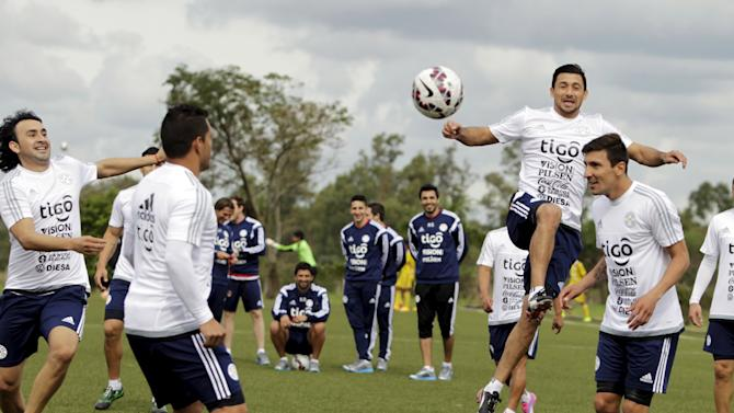 Players of Paraguay national soccer team train in Ypane, near Asuncion