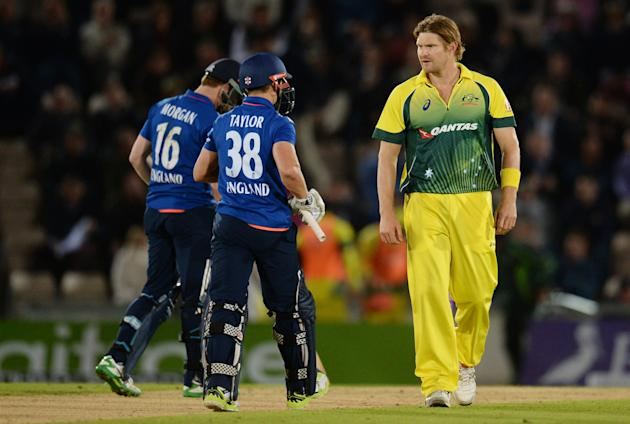 Australia's Shane Watson after England's James Taylor is bowled