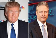 Donald Trump, Jon Stewart | Photo Credits: Dave Kotinsky/Getty Images; Martin Crook/Comedy Central