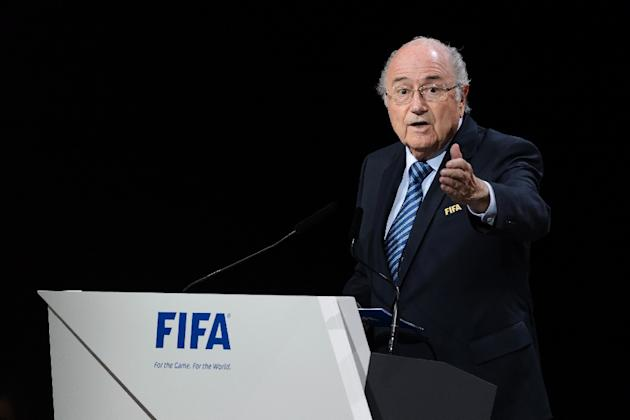 FIFA President Sepp Blatter delivers his speech at the opening of the FIFA Congress in Zurich, on May 29, 2015