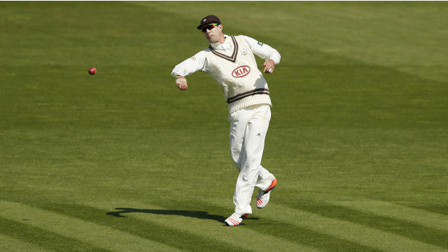 Cricket: Surrey's Kevin Pietersen in action while fielding