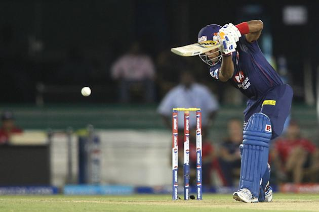 Unmukt Chand of Delhi Daredevils plays a delivery to the third man boundary during match 44 of the Pepsi Indian Premier League between The Delhi Daredevils and the Kolkata Knight Riders held at the Ch
