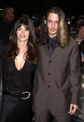 Penelope Cruz and Johnny Depp at the Hollywood premiere of New Line's Blow