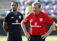 "England manager Roy Hodgson (right) supervises a training session in Oslo on May 25. Hodgson has repeatedly emphasised that he needs time to put his imprint on the squad after being ""parachuted"" into the demanding job"