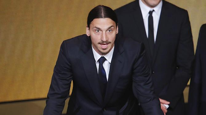 Sweden's Zlatan Ibrahimovic speaks after receiving the Puskas trophy for the best goal at the FIFA Ballon d'Or 2013 Gala in Zurich, Switzerland, Monday, Jan. 13, 2014