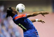 Former Chelsea star Didier Drogba of Shanghai Shenhua fields the ball before his team beat Liaoning Whowin 3-0 in the Chinese Super League match in Shanghai on September 15. FIFA have turned down a request from Ivorian striker Drogba to be allowed to leave Chinese club Shanghai Shenhua on loan to a European club ahead of the transfer window