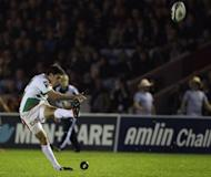 Dimitri Yachvili of Biarritz kicks a penalty shot during the European Challenge Cup at Twickenham Stoop. Yachvili kicked a perfect seven penalties to give Biarritz a 21-18 win over Toulon in Friday's European Challenge Cup final, the Basque club's first piece of continental silverware