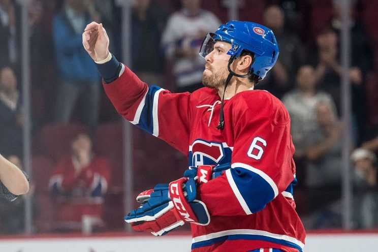 October 20, 2016: Shea Weber (6) of the Montreal Canadiens salutes the crowd after the third period of the NHL game between the Arizona Coyotes and the Montreal Canadiens at the Bell Centre in Montreal, QC (Photo by Vincent Ethier/Icon Sportswire via Getty Images)
