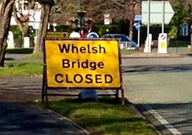 "Bungling workers made a terrible spelling error when they erected a sign for an historic Welsh bridge. The yellow sign for the Grade II listed ""Whelsh"" Bridge in Shrewsbury, Shropshire, was"