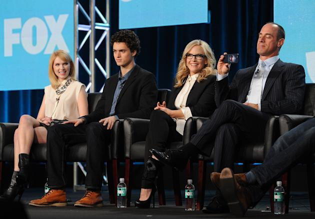 "From left, cast members Claudia Lee, Connor Buckley, Rachael Harris and Christopher Meloni participate in FOX's ""Surviving Jack"" panel at the FOX Winter TCA Press Tour, on Monday, Januar"