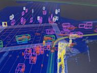 A visualization of what self-driving Google cars' sensors detect as they're driving.