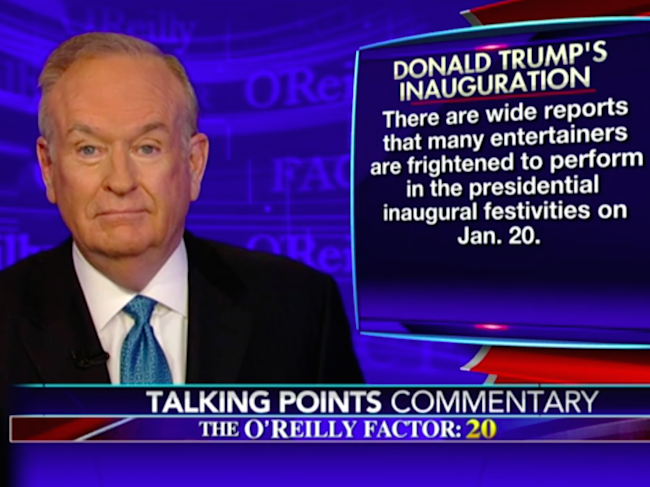Bill O'Reilly: Stars who won't perform at Trump's ...
