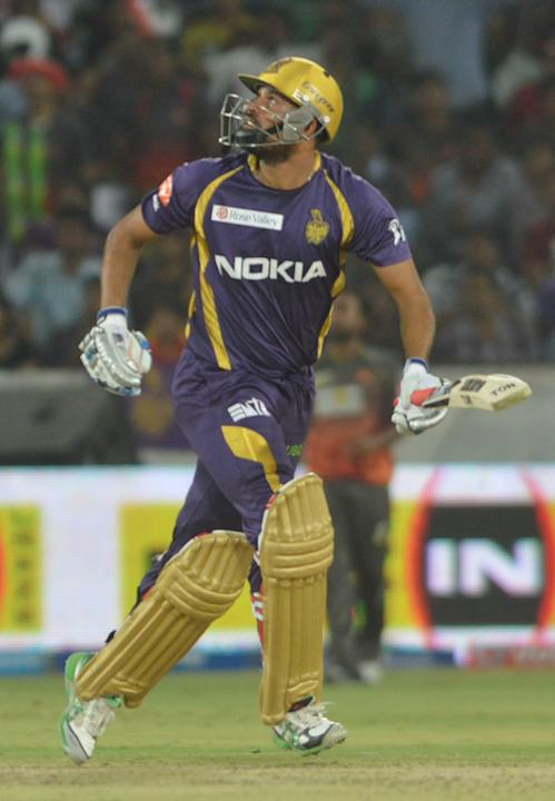 KKR batsman Yusuf Pathan in action during the match between Sunrisers  Hyderabad and Kolkata Knight Riders at Rajiv Gandhi International Cricket Stadium Uppal in Hyderabad (Deccan), May 19, 2013. (Pho
