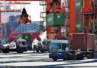 Containers are unloaded from freighters at Tokyo's port on January 11, 2013. Japan's hard-charging prime minister said he wanted in on talks to forge a huge trade pact, the latest bold move from a man who says he is determined to lick the frail economy into shape
