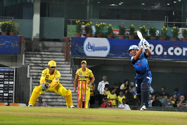 Chennai Superkings Captain MS Dhoni in action during the Champions League T20, 3rd match, Group B, between Chennai Super Kings and Titans at JSCA International Cricket Stadium, Ranchi on Sept. 22, 201
