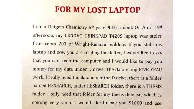 Student Offers $1,000 for Data on Stolen Laptop